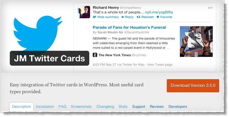 من اضافات ووردبريس لأصحاب المواقع في 2014 JM Twitter Cards