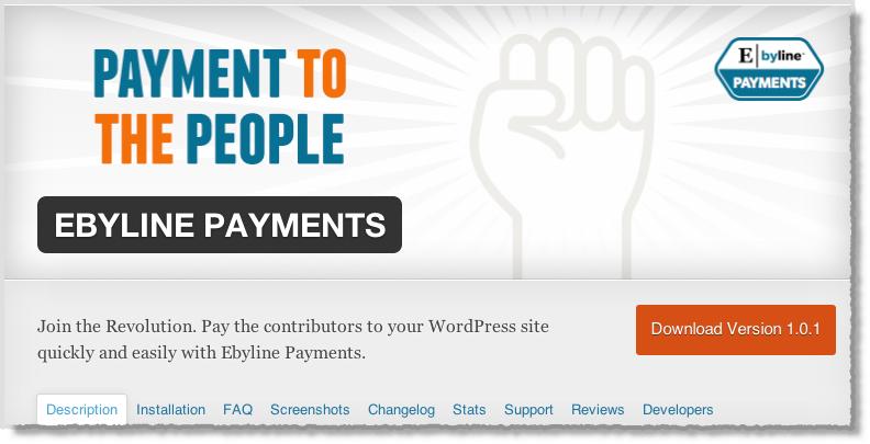 من اضافات ووردبريس لأصحاب المواقغع في 2014 Ebyline WordPress Payments