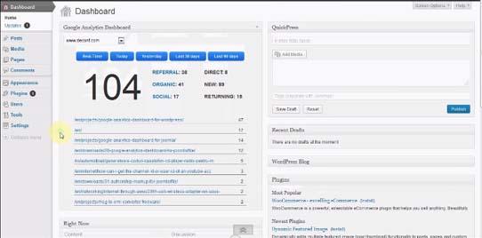 من اضافات ووردبريس لأصحاب المواقغع في 2014 Google Analytics Dashboard