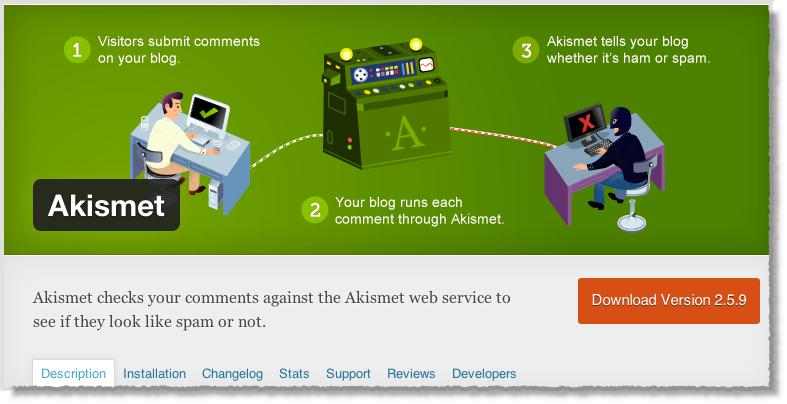 من اضافات ووردبريس لأصحاب المواقع في 2014 Akismet
