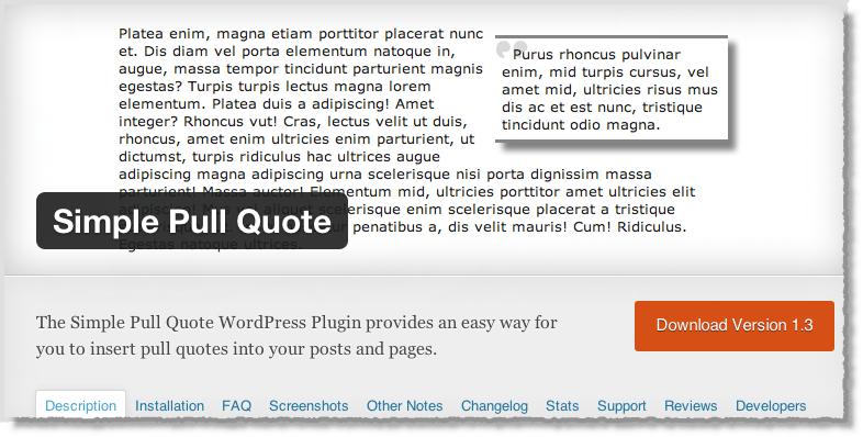 من اضافات ووردبريس لأصحاب المواقع في 2014 Simple Pull Quote