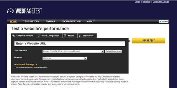 اداة اختبار صفحات الويب - WebPageTest